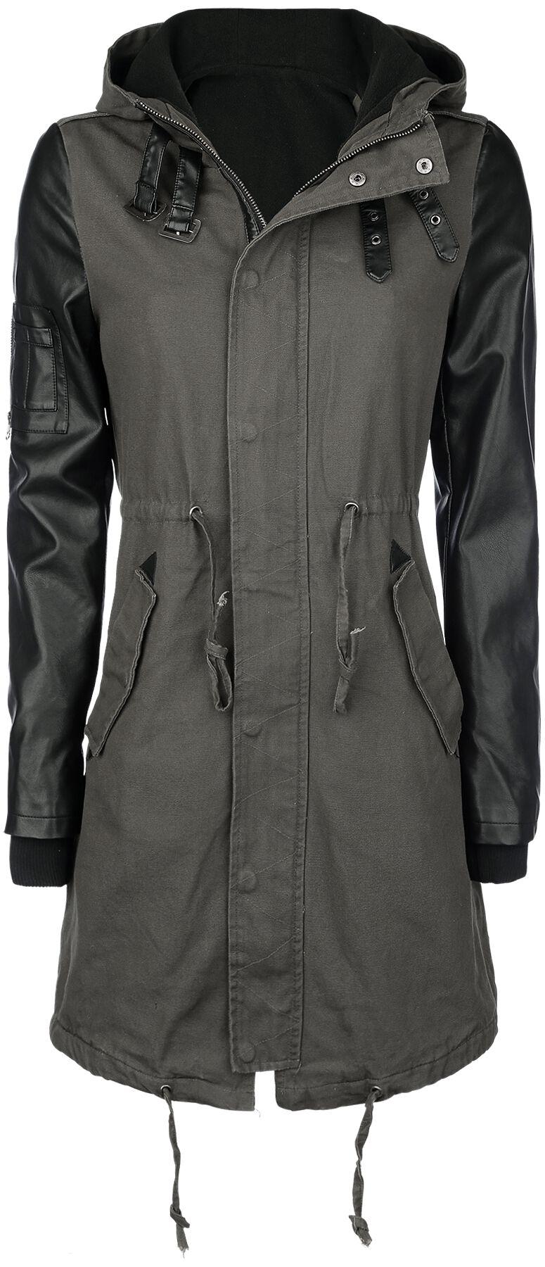 Forplay Imitation Leather Sleeves Army Jacket Kurtka damska oliwkowy/czarny
