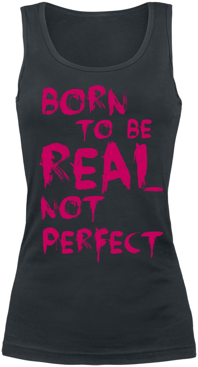 Fun Shirts - Topy - Top damski Born To Be Real Not Perfect Top damski czarny - 332304