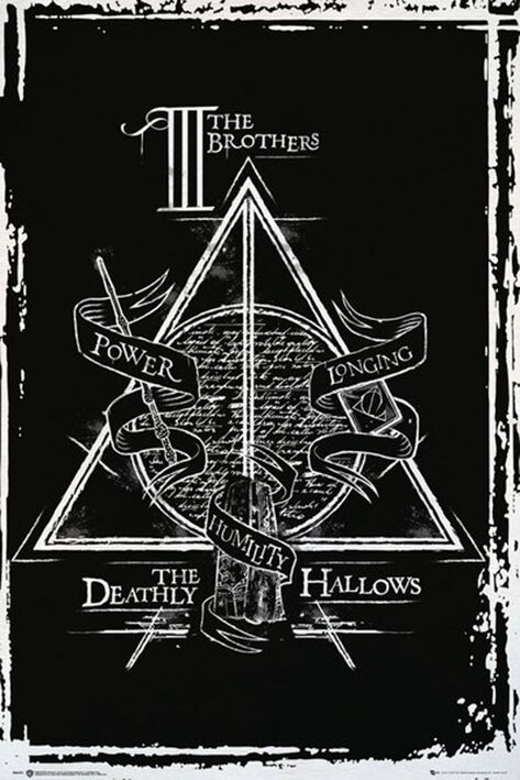 Image of   Harry Potter Deathly Hallows Graphic Plakat sort-hvid