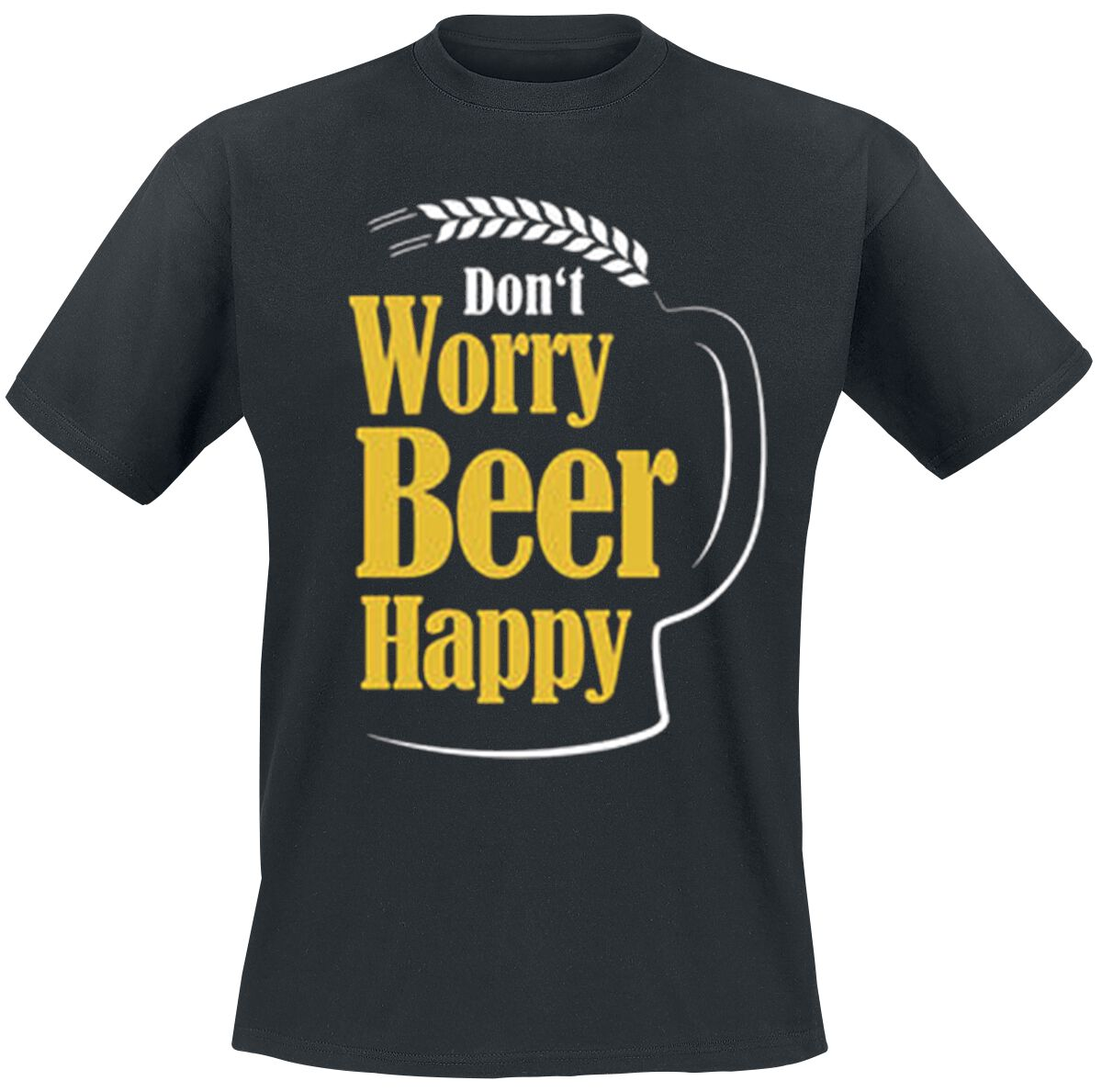 Fun Shirts - Koszulki - T-Shirt Don't Worry Beer Happy T-Shirt czarny - 332416