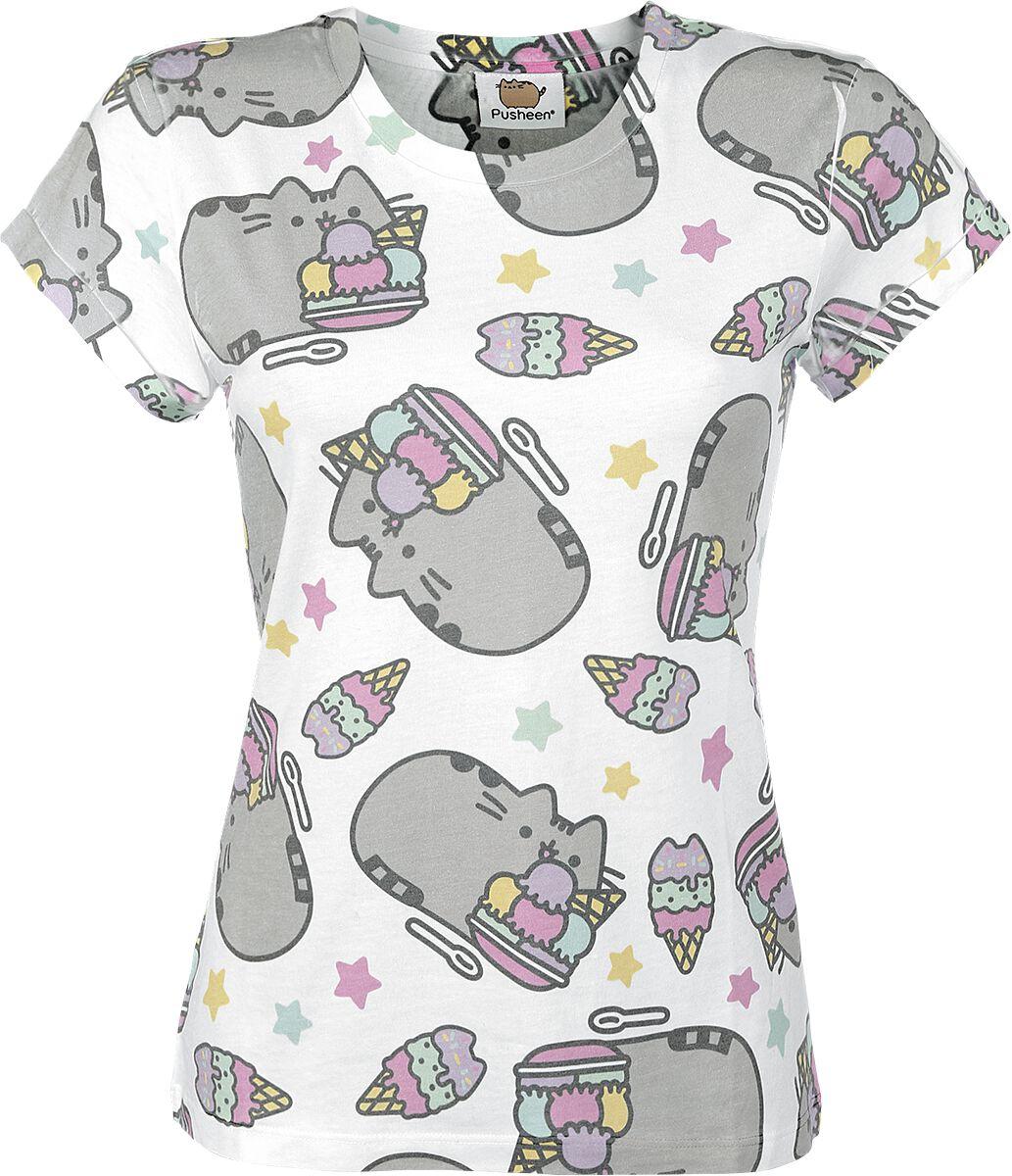 Merch dla Fanów - Koszulki - Koszulka damska Pusheen Ice Cream Koszulka damska biały - 332457