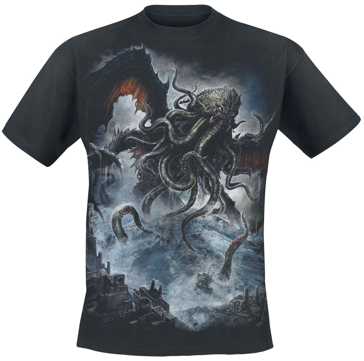 Image of   Spiral Cthulhu T-Shirt sort