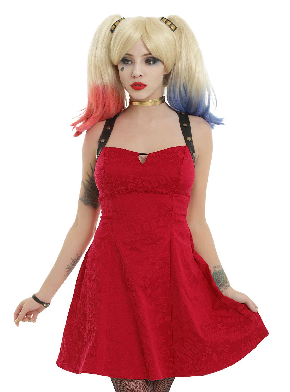 Image of   Suicide Squad Harley Quinn - Holster Kjole rød-sort