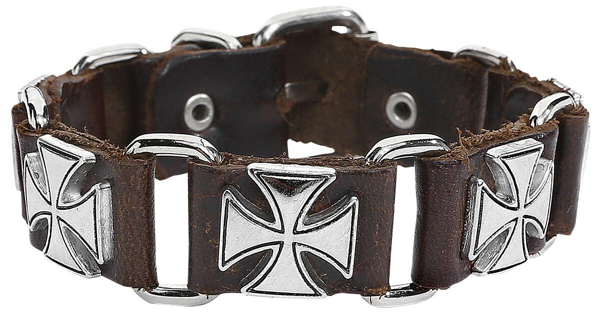 Basics - Bransoletki - Bransoletka skórzana Brown Iron Crosses Bransoletka skórzana standard - 333412
