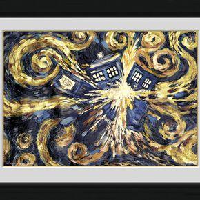 Doctor Who L'Explosion Du Tardis Photo encadrée multicolore