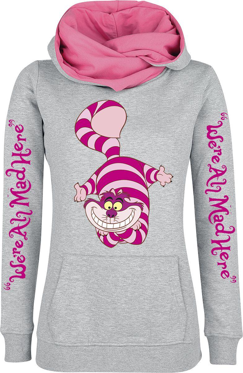 Image of   Alice i Eventyrland Filurkatten - We're All Mad Here Girlie hættetrøje meleret grå-pink
