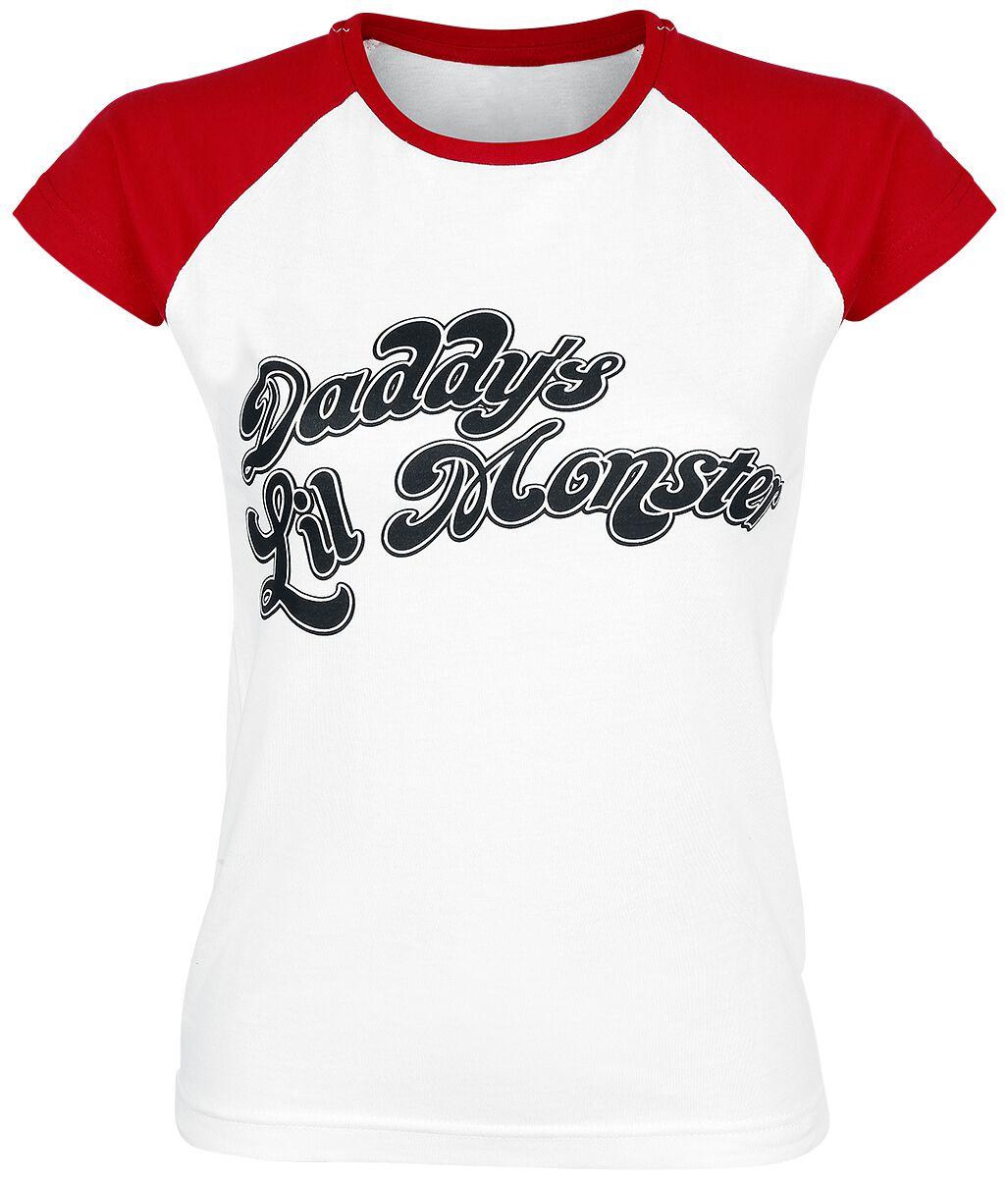 Image of   Suicide Squad Harley Quinn - Daddy's Little Monster Girlie trøje hvid-rød