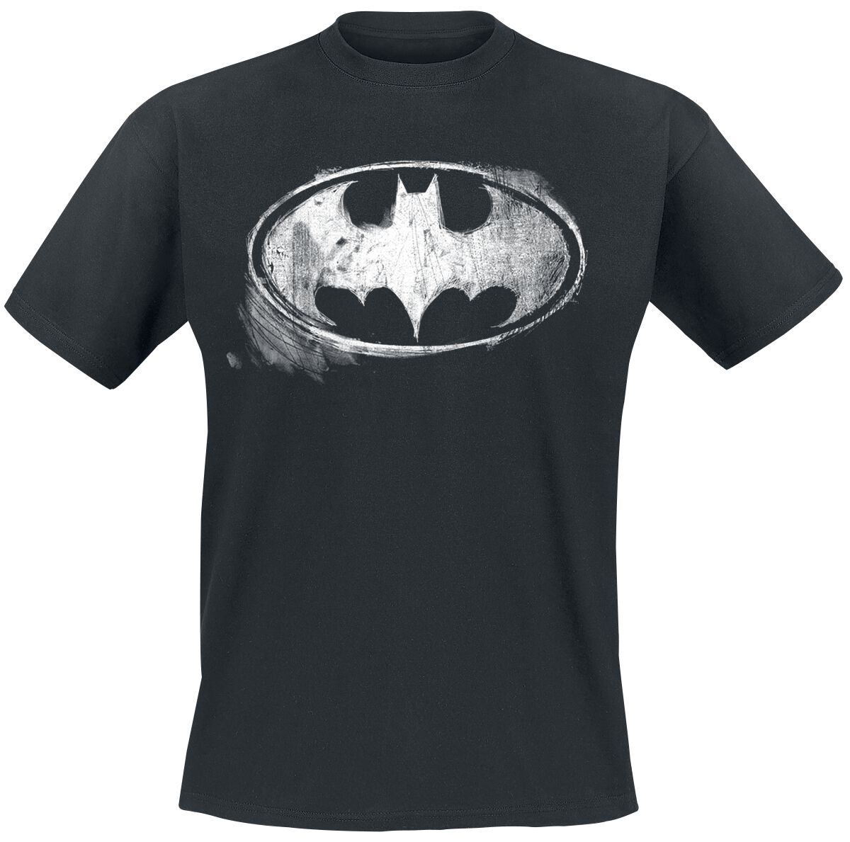 Image of   Batman Logo Mono Distressed T-Shirt sort