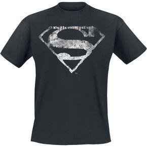 Superman Logo Monochrome Délavé T-shirt noir