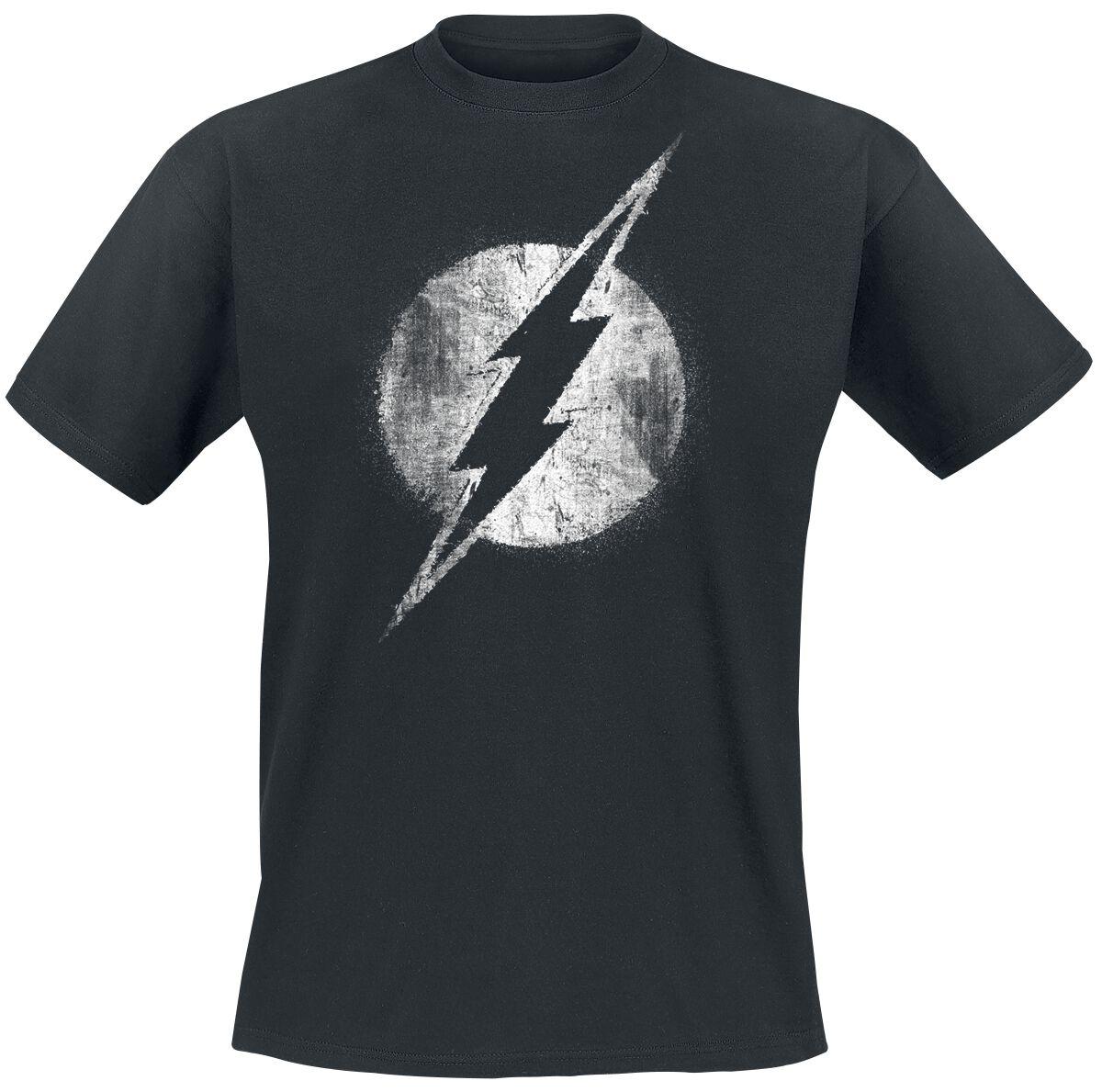Merch dla Fanów - Koszulki - T-Shirt The Flash Logo Mono Distressed T-Shirt czarny - 334768