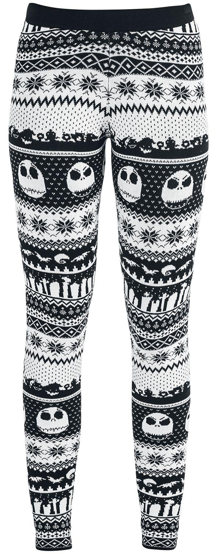 Image of   The Nightmare Before Christmas Fair Isle Knit Leggings Leggings sort-hvid
