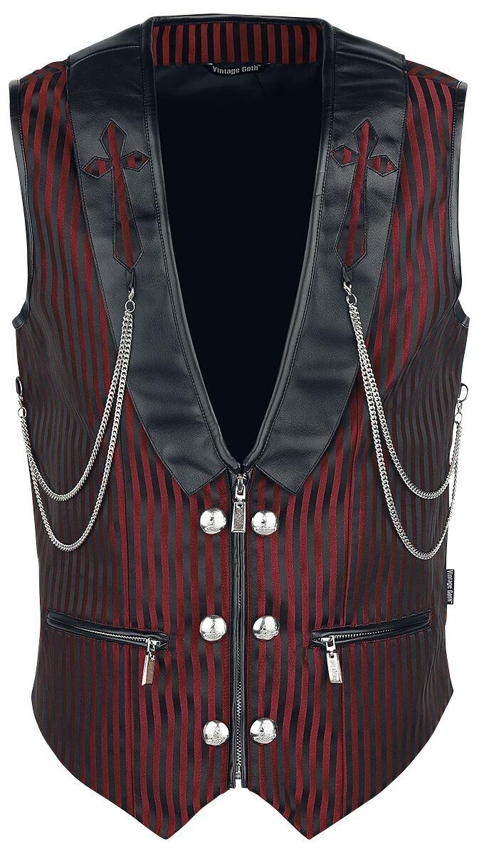 Motyw - Kamizelki - Kamizelka Vintage Goth Brocade Kamizelka czarny/czerwony - 335747
