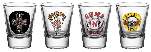 Image of   Guns N' Roses Mix Shotglas, sæt gennemsigtig