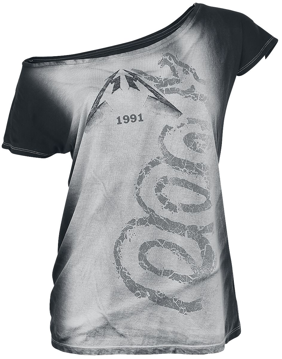 Image of   Metallica Black Album Girlie trøje grå-hvid