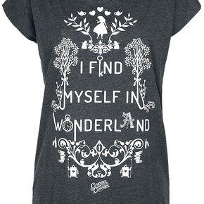 Alice Au Pays Des Merveilles I Find Myself In Wonderland T-shirt Femme gris chiné