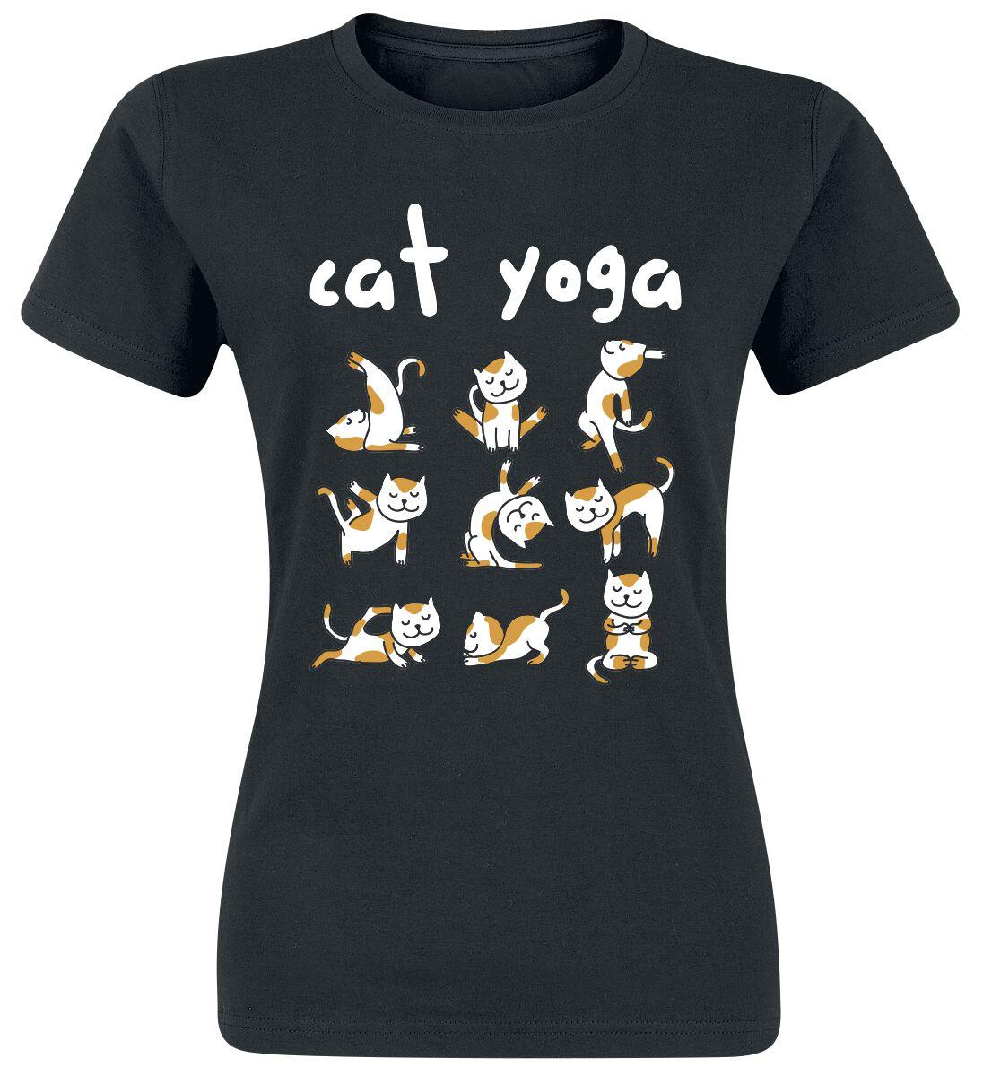 Fun Shirts - Koszulki - Koszulka damska Cat Yoga Koszulka damska czarny - 337130