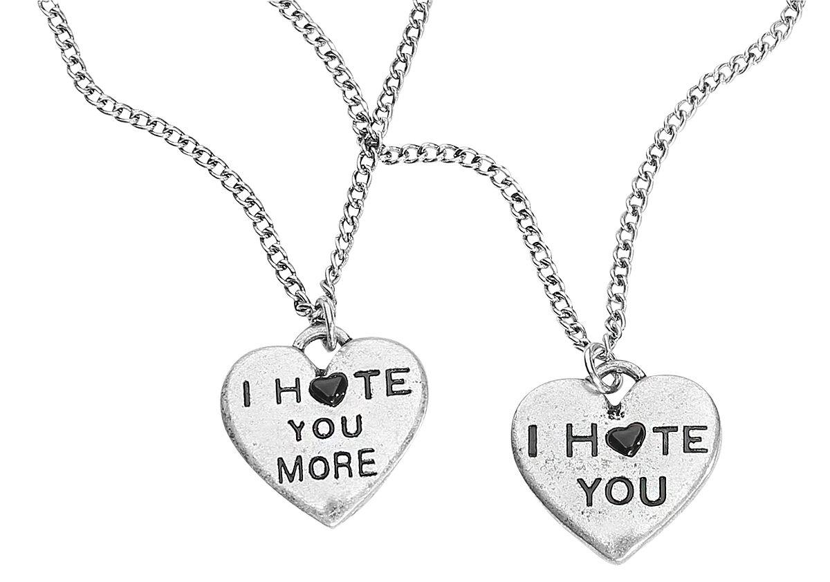 Image of   Blackheart I Hate You More Halskæde sølvfarvet