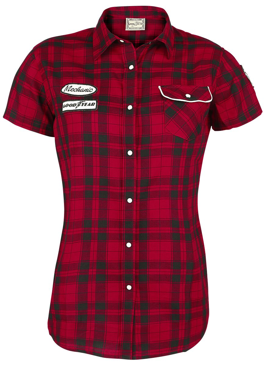 Marki - Koszule z krótkim rękawem - Koszula damska GoodYear Santa Ana Koszula damska czarny/czerwony - 338363