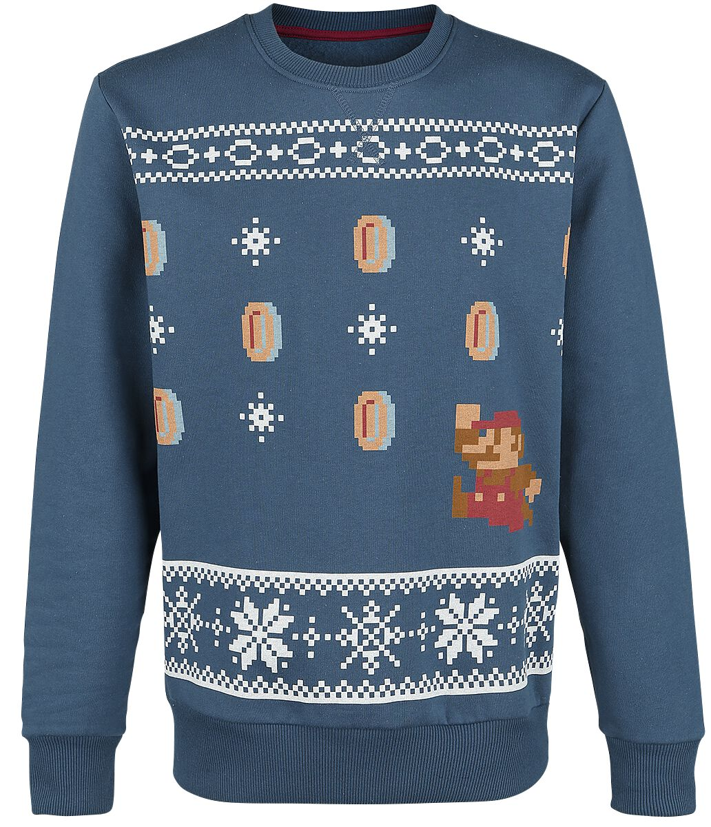 Image of   Super Mario Mario Christmas Sweater Pullover blå