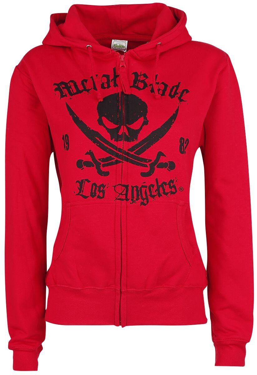 Zespoły - Bluzy z kapturem - Bluza z kapturem rozpinana damska Metal Blade Pirate Logo Bluza z kapturem rozpinana damska czerwony - 338810