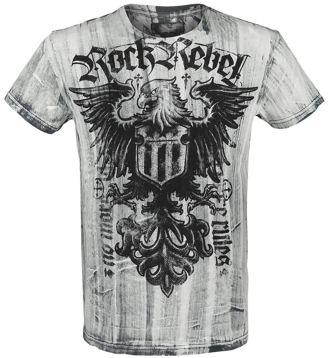 Image of   Rock Rebel by EMP Black Washed Eagle Shirt T-Shirt hvid