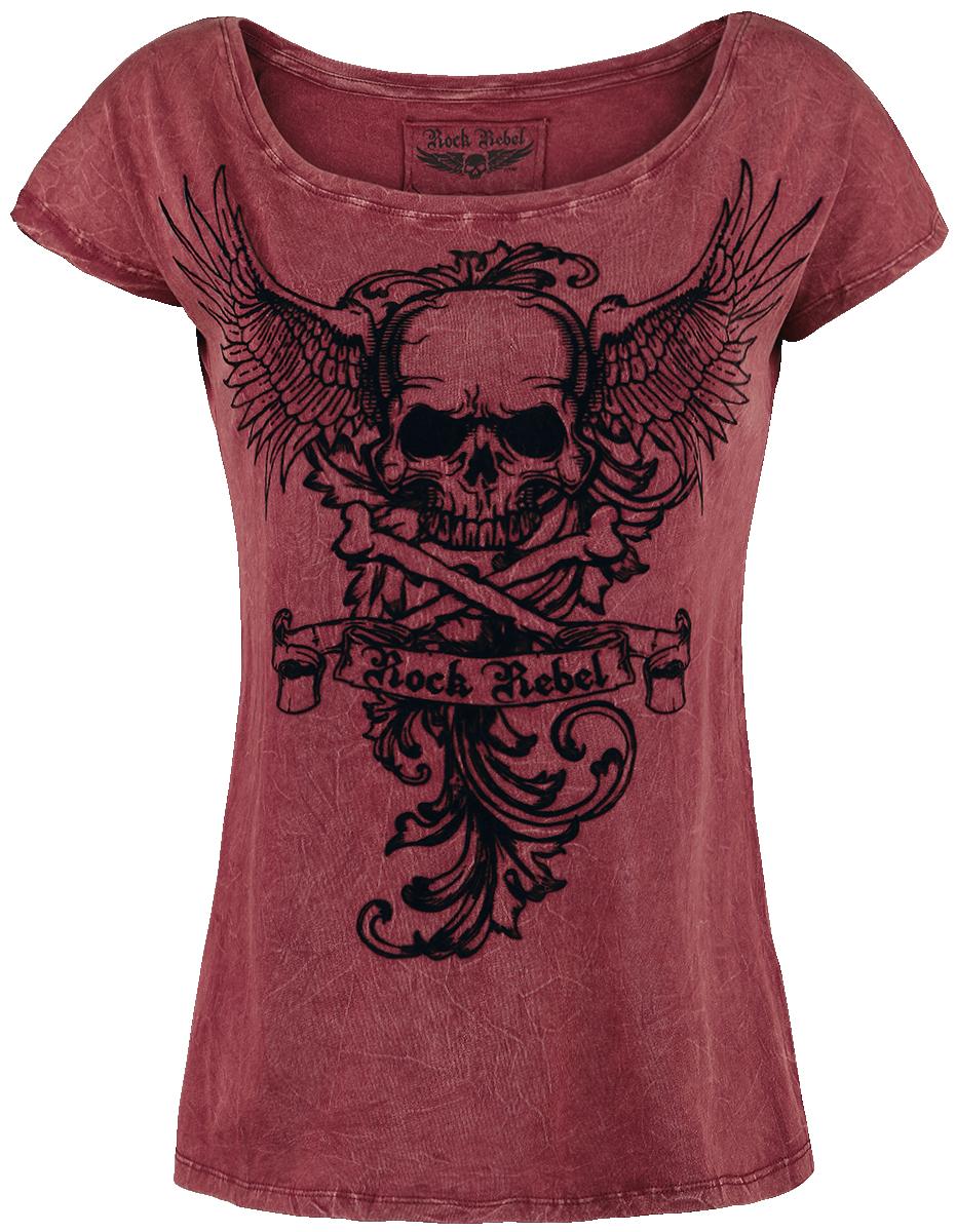 Rock Rebel by EMP Skull Wings Shirt Koszulka damska bordowy
