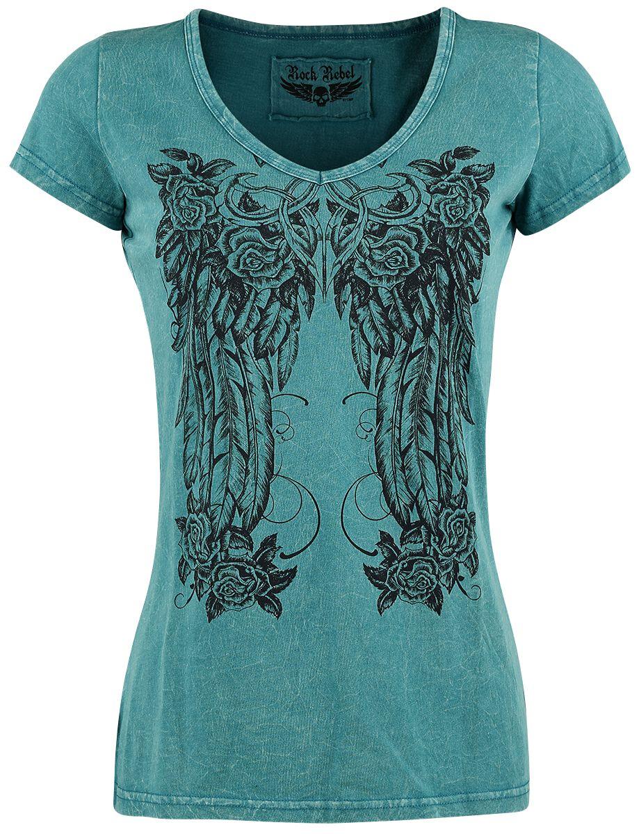 Image of   Rock Rebel by EMP Floral Feather Shirt Girlie trøje petrol
