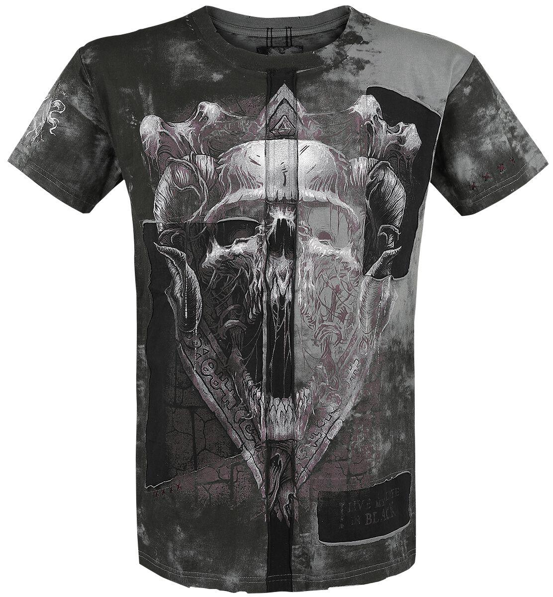 Image of   Black Premium by EMP Dark Skull Cut-Out T-Shirt sort-grå