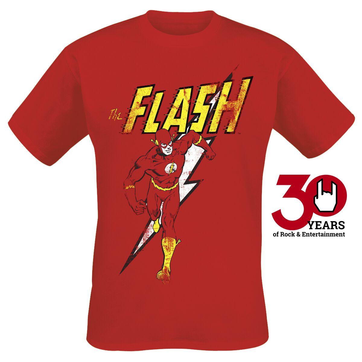 Merch dla Fanów - Koszulki - T-Shirt The Flash Distressed Strike T-Shirt czerwony - 340396