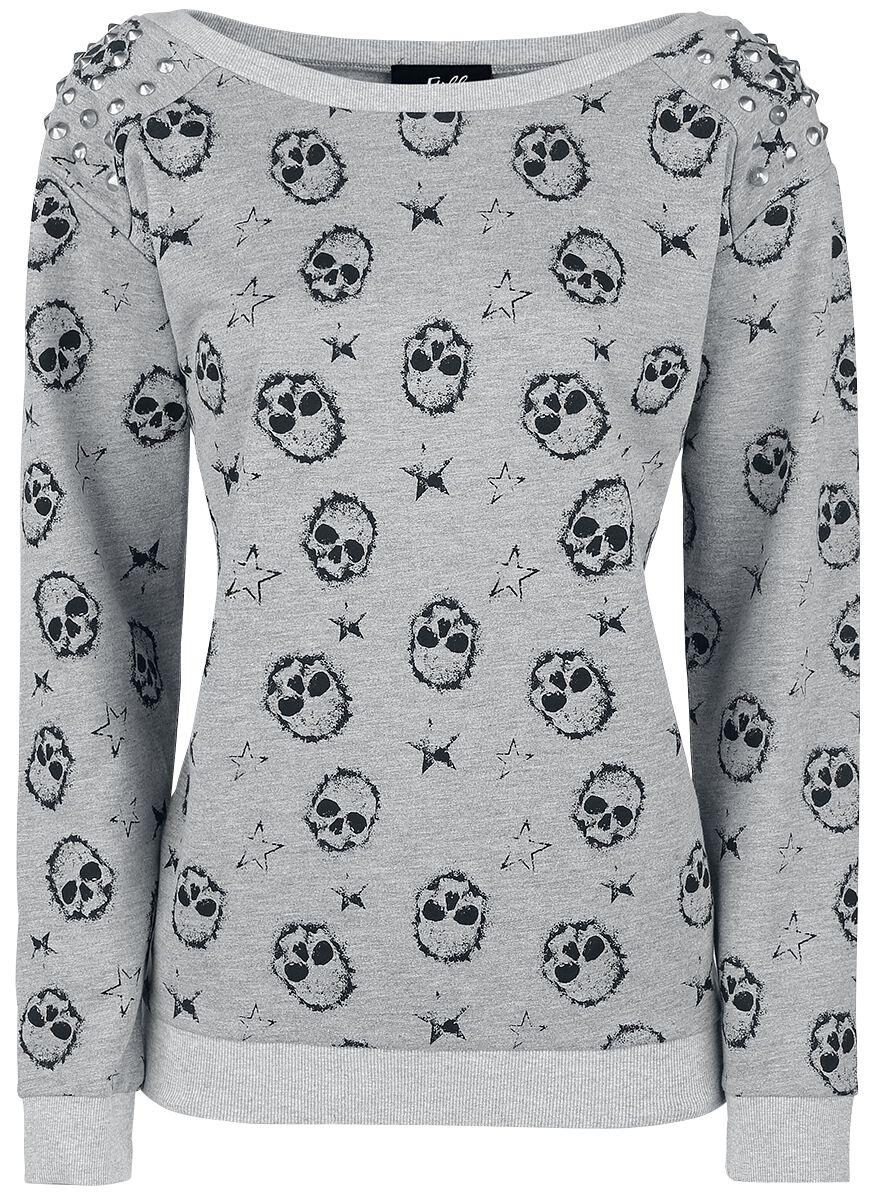 Marka własna - Bluzy - Bluza damska Full Volume by EMP Skully Sweatshirt Bluza damska szary - 340695