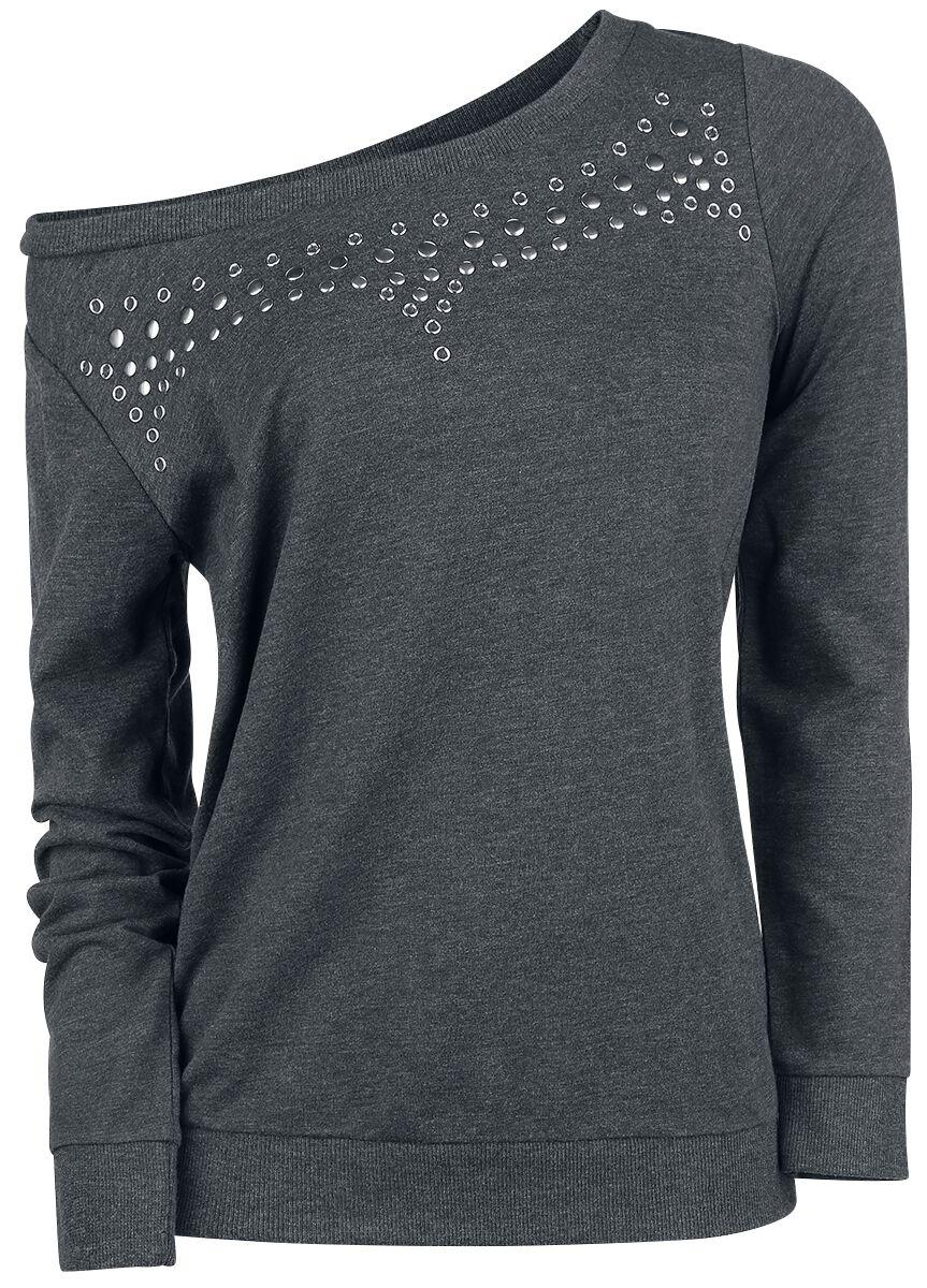 Image of   Rock Rebel by EMP Flat Stud Sweatshirt Girlie sweatshirt grå