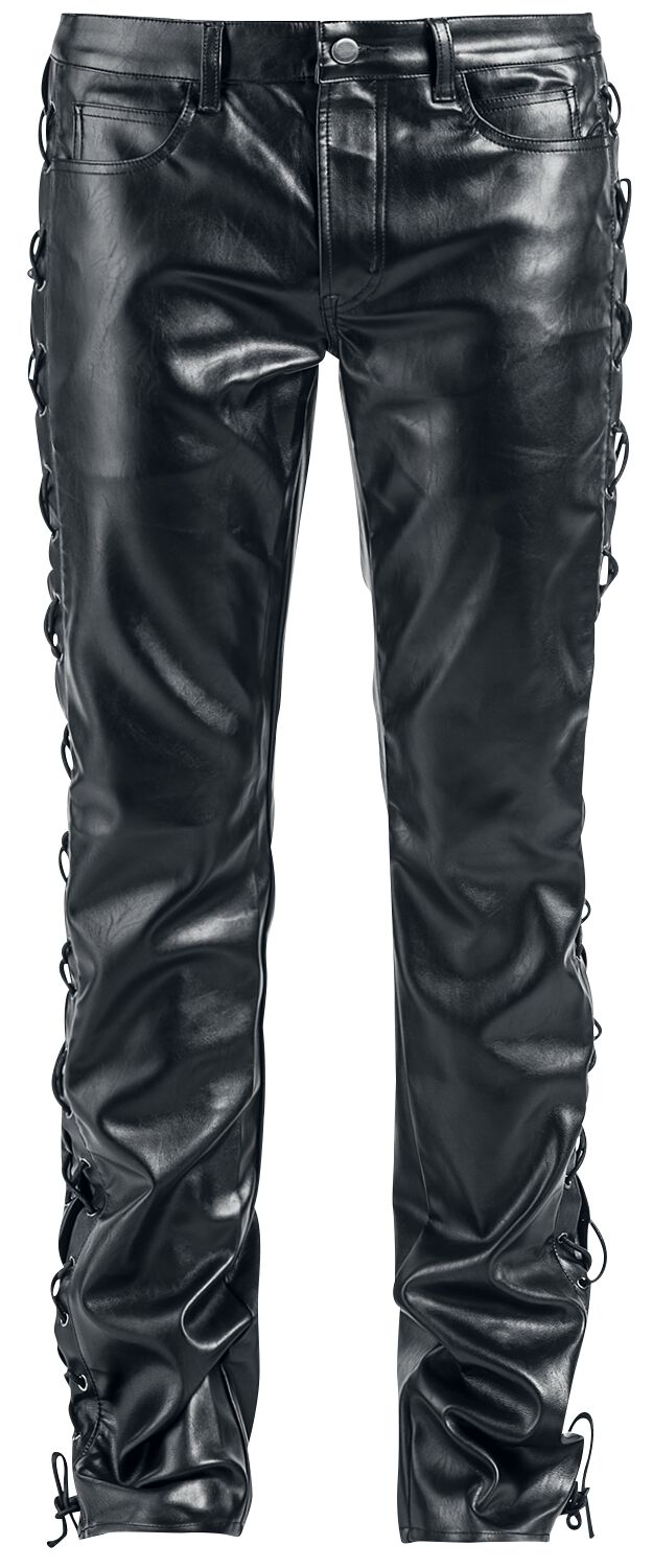 Image of   Gothicana by EMP Leather Look Pants (Straight Fit) Bukser sort