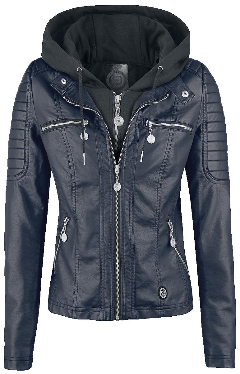 RED by EMP Hooded Faux Leather Jacket Kurtka damska ciemnoniebieski/czarny