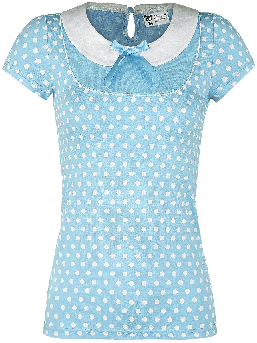 Marki - Koszulki - Koszulka damska Pussy Deluxe Candy Love Collar Shirt Koszulka damska jasnoniebieski - 341265