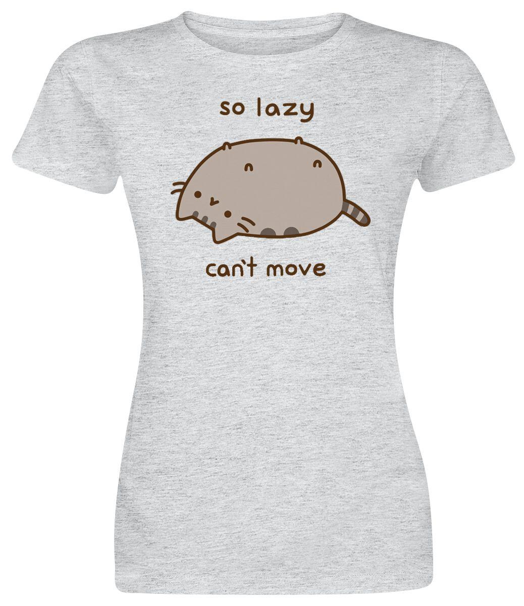 Merch dla Fanów - Koszulki - Koszulka damska Pusheen So Lazy Can't Move Koszulka damska odcienie jasnoszarego - 341290