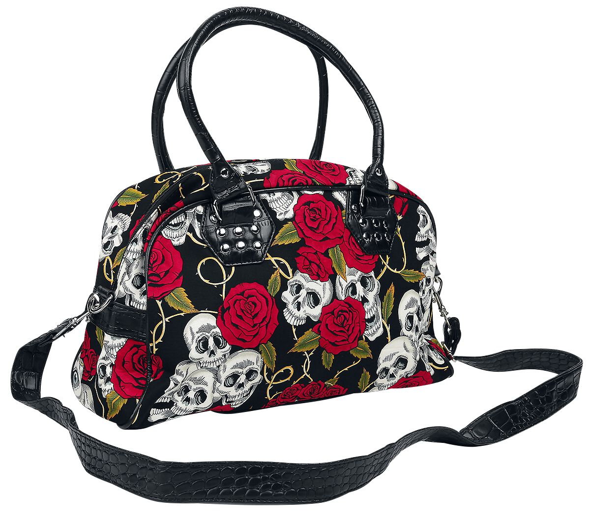 Image of   Banned Skulls And Roses Håndtaske sort