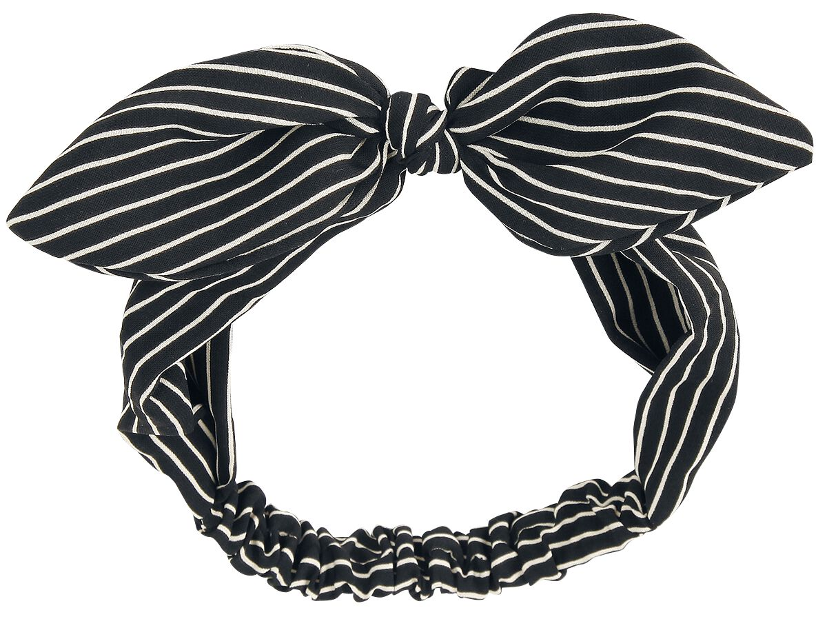 Image of   Banned Alternative Striped Bow Hårbånd sort-hvid