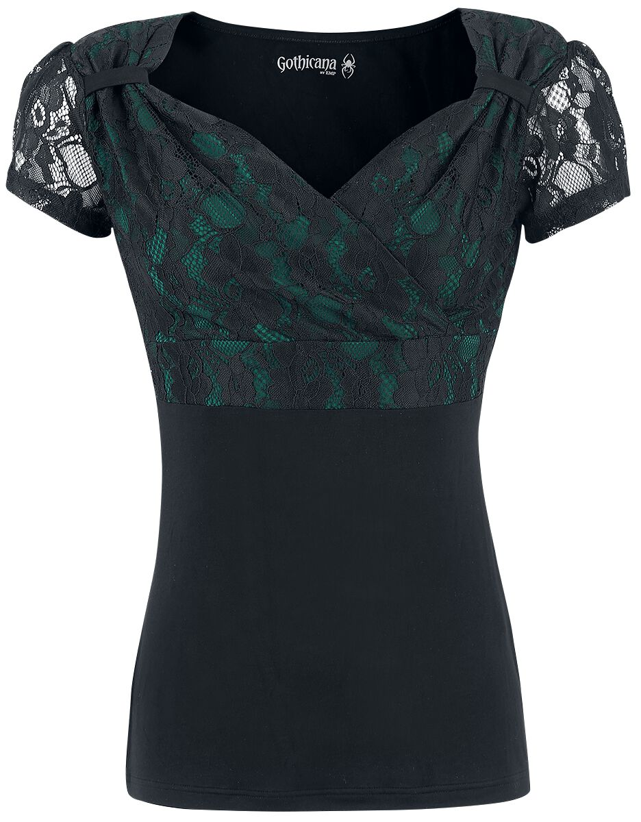 Image of   Gothicana by EMP Lace V-Neck Girlie trøje sort-grøn