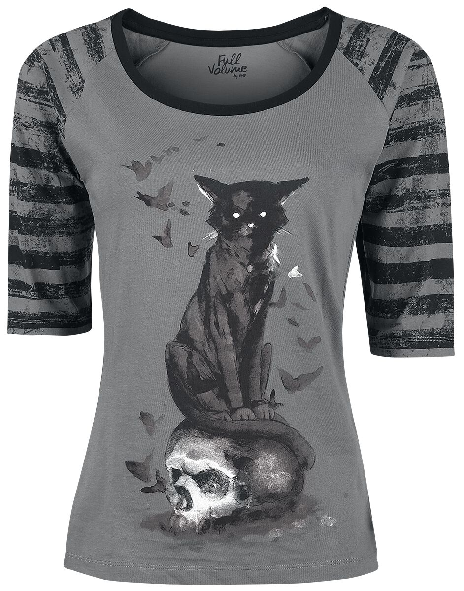 Image of   Full Volume by EMP Cat And Skull Longsleeve Girlie langærmet grå