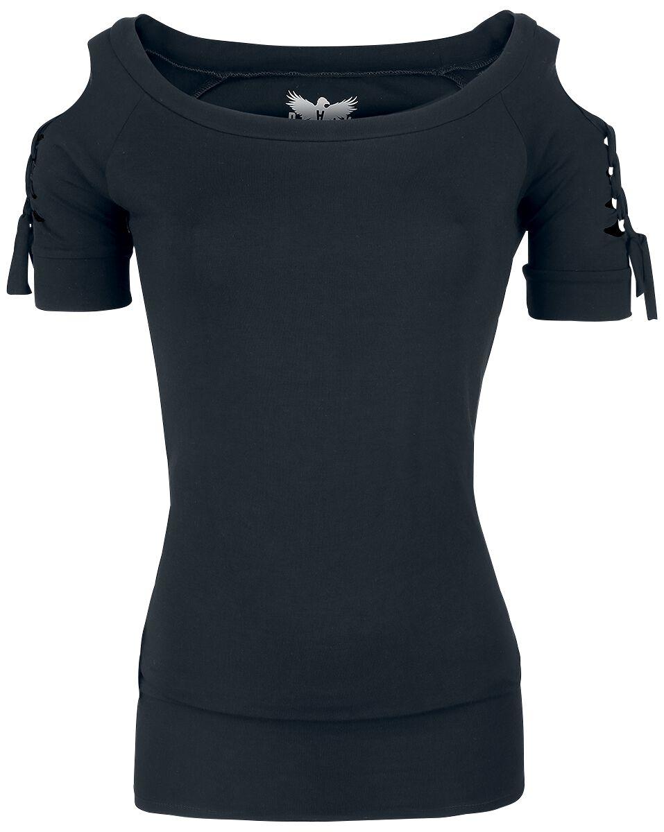 Image of   Black Premium by EMP Cold-Shoulder Shirt Girlie trøje sort