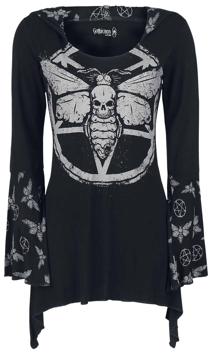 Image of   Gothicana by EMP Hooded Deathmoth Pentagram Longsleeve Girlie langærmet sort