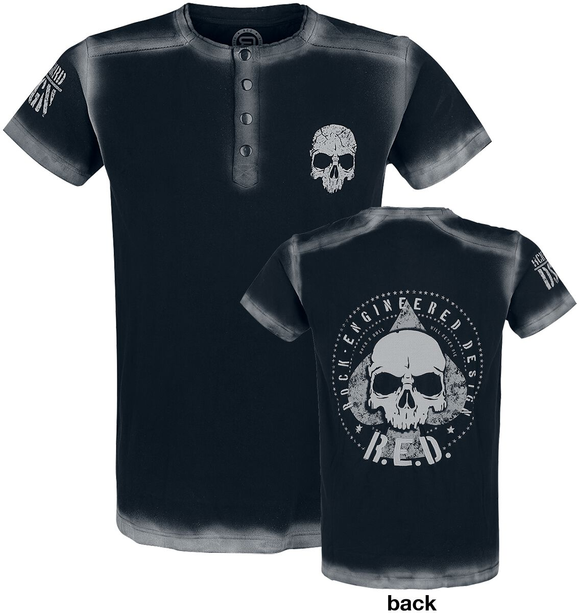 Image of   RED by EMP Embroidery Circle Skull Shirt T-Shirt sort