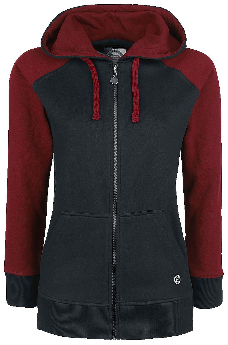 RED by EMP Contrast Hoodie Jacket Bluza z kapturem rozpinana damska czarny