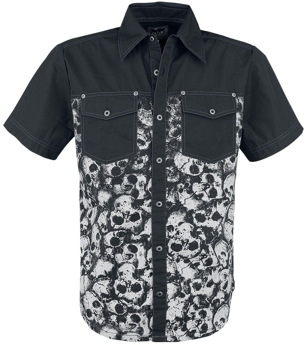 Image of   Black Premium by EMP Allover Skull Shirt Skjorte sort