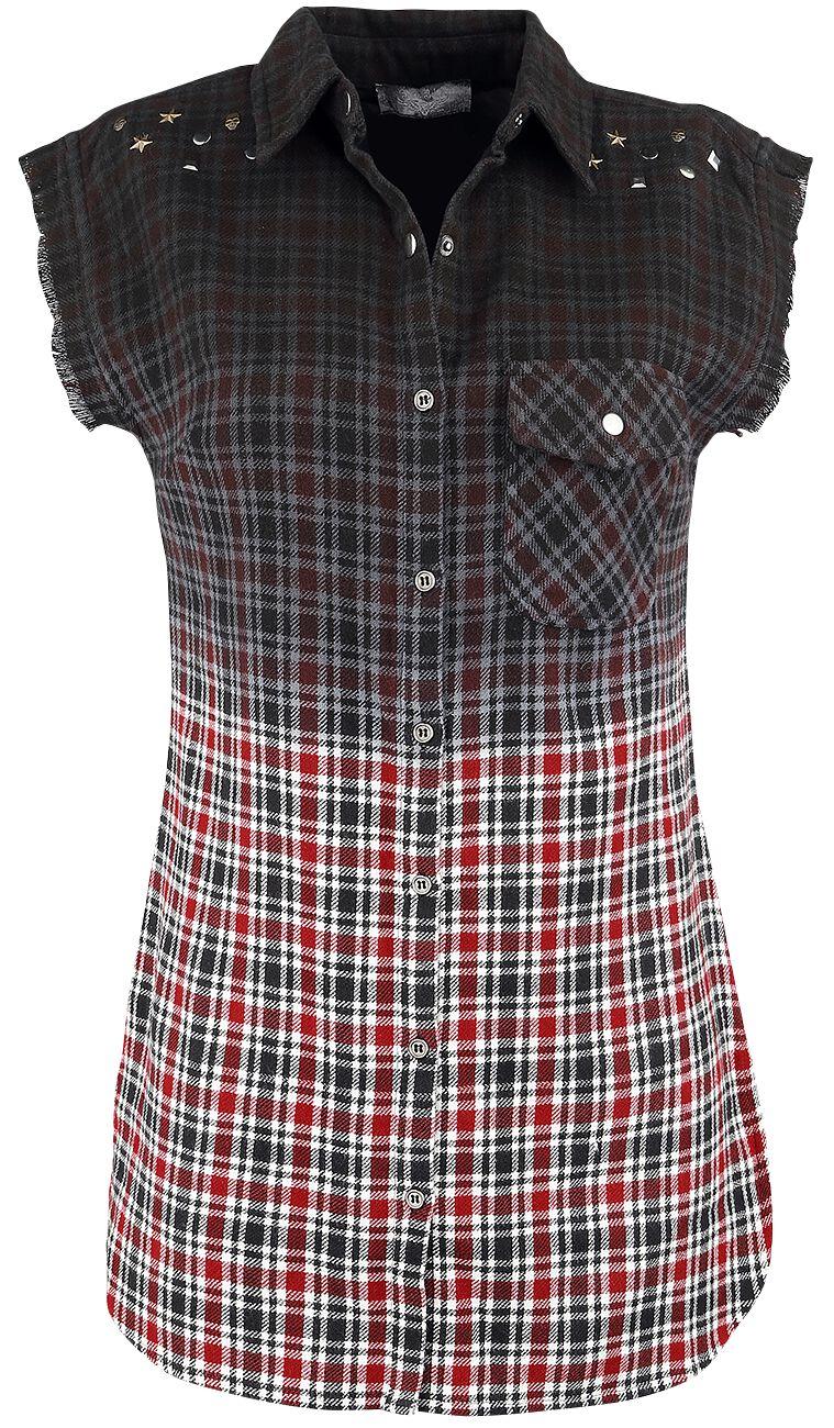 Image of   Rock Rebel by EMP Checkered Dip Dye Shirt Girlie Skjorte sort