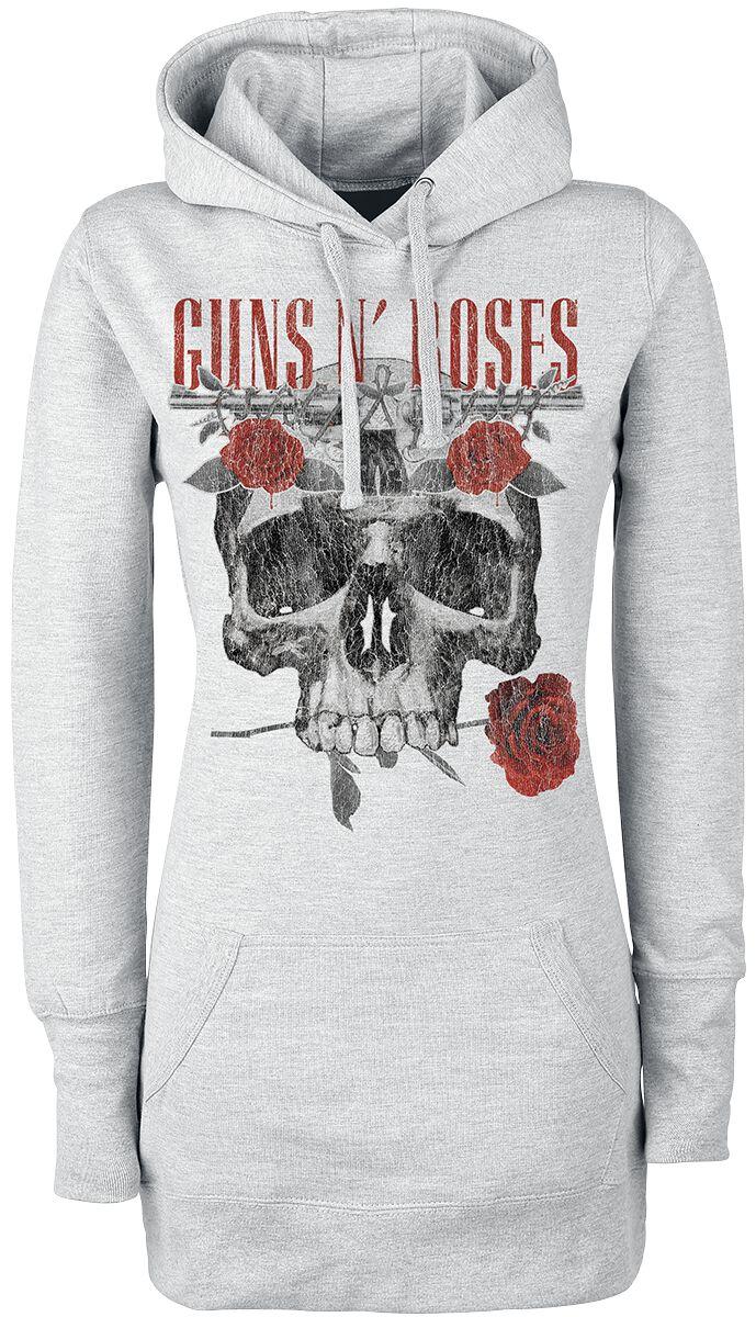 Image of   Guns N' Roses Flower Skull Girlie hættetrøje grålig