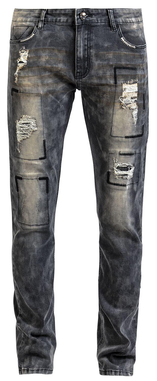 Image of   Rock Rebel by EMP Destroyed Jared (Slim Fit) Jeans grå