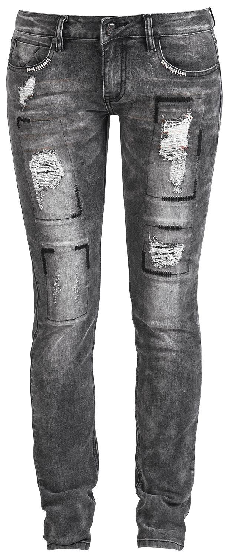 Image of   Rock Rebel by EMP Destroyed Skarlett (Slim Fit) Girlie jeans grå