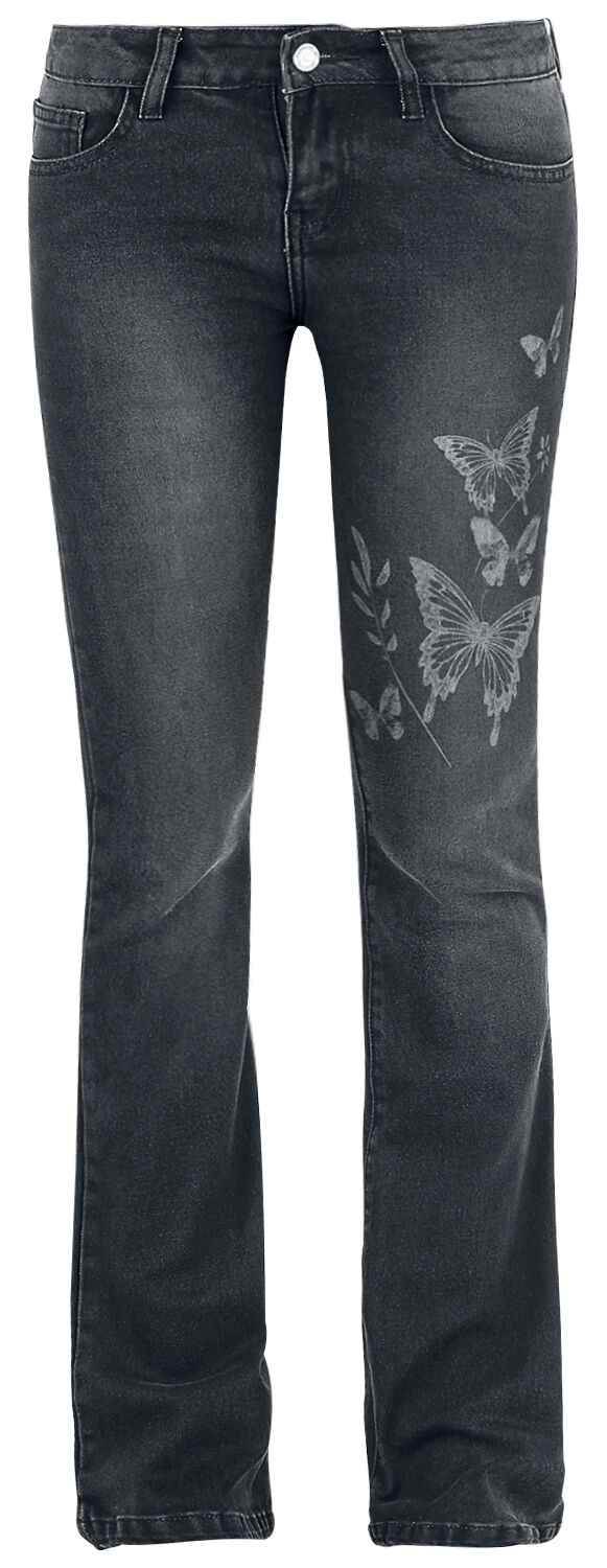 Image of   Full Volume by EMP Butterfly Grace (Boot Cut) Girlie jeans sort