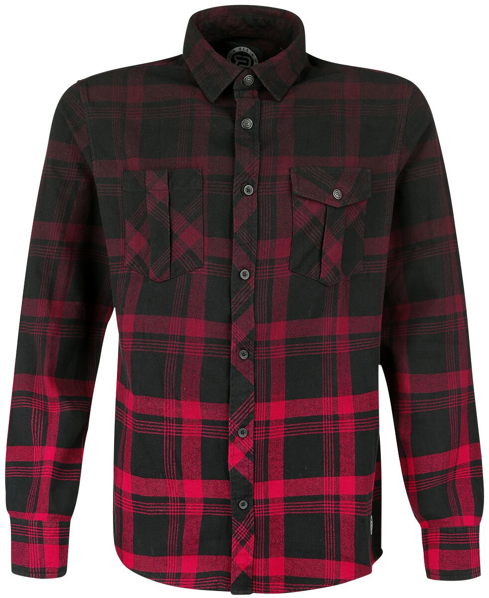 Image of   RED by EMP Checked Dip Dye Shirt Skjorte sort-rød